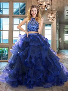 Vintage Royal Blue Tulle Backless Halter Top Sleeveless 15th Birthday Dress Brush Train Beading and Ruffles