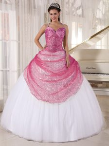 Popular Spaghetti Straps Ruched Rose Pink and White Quinceanera Dress with Sequin