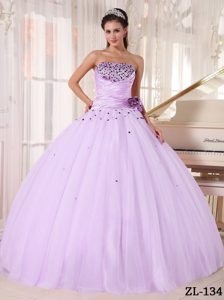 2014 Lavender Strapless Ball Gown Tulle Quinceanera Dress with Beading and Flower