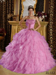 Strapless Ruffled Quinceaneras Dress in Lavender with Embroidery on Promotion