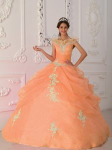V-neck Cap Sleeves Quinceanera Gowns with Ruffles and Appliques in Orange