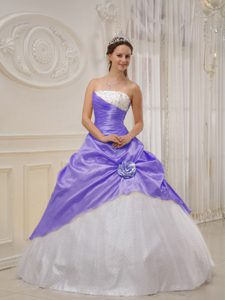 Beaded and Ruched Dress for Quince with Handmade Flower in Lilac and White