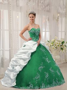 Cheap Green and White Sweetheart Dresses for Quince with Embroidery on Sale