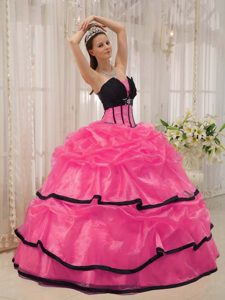 Beading Sweet Sixteen Dresses with Pick-ups and Layers in Hot Pink and Black