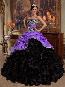 New Stylish Purple and Black Ruffled Sweet 15 Dresses with Pick-ups and Zebra