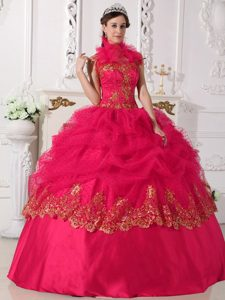 Cheap Cool Neckline Sweet Sixteen Quince Dresses with Appliques in Coral Red