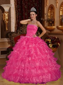 Beading Strapless Organza 2013 Quinceanera Dress with Ruffled Layers in Hot Pink