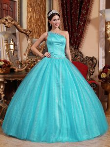 Discount One Shoulder Floor-length Dress for Quince with Beadings in Aqua Blue