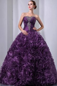 Glitz Eggplant Purple A-line Quinceanera Gown with Beads and Rolling Flowers