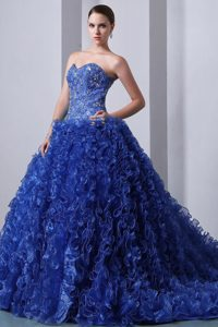 Cheap Princess Sweetheart Dresses for Quince in Blue with Ruffles and Appliques