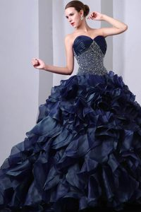 Navy Blue Beading and Ruching Sweet Sixteen Quinceanera Dresses with Ruffles
