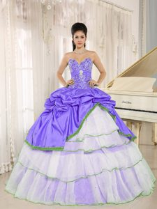 Beaded Purple and White Quinceanera Dress with Ruffled Layers and Pick-ups