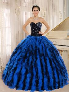 Custom Made Beaded and Ruffled Sweetheart Sweet 16 Dress in Multi-color