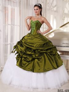 Appliqued Sweetheart Oliver Green Quinceanera Dress in Taffeta and Tulle