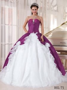 Purple and White Sweetheart Sweet 16 Dress Made in Organza and Taffeta