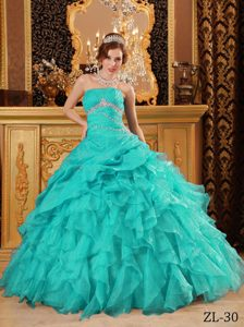 Brand New Turquoise Beaded And Ruffled Quinceanera Dresses in Organza
