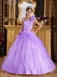 Lavender One Shoulder Appliqued Tulle Quinceanera Dresses on Promotion