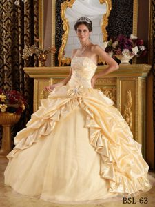 New Taffeta and Tulle Beaded Sweet Sixteen Quinceanera Dress with Pick-ups