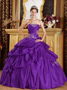 Purple Strapless Taffeta Quinceanera Dress with Appliques Decorated on Sale