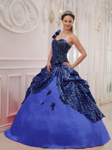 Modern Blue One Shoulder Leopard 2014 Quinceanera Dress with Appliques