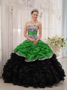 Green and Black Sweetheart Quinceanera Dress with Pick-ups on Promotion