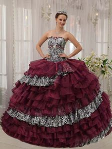 Burgundy Sweetheart Zebra and Organza Beaded Quinceanera Dress on Sale
