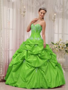 Spring Green Sweetheart Taffeta Quinceanera Dress with Appliques on Sale