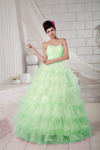 Apple Green Sweetheart Organza Beaded Quinceanea Dress for Custom Made