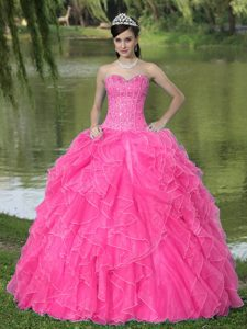 Beautiful Beaded Sweetheart Quinceanera Dress with Ruffled Layers on Sale