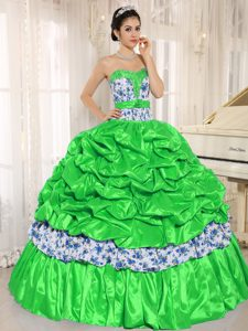 Beaded Spring Green Taffeta and Printed Quinceanera Dress with Pick-ups