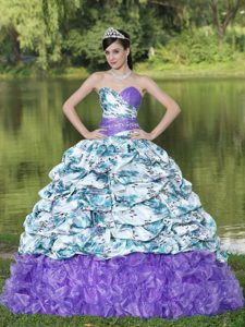 Colorful Printed Beaded Quinceanera Dress with Pick-ups and Ruffles in 2013