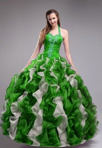 Green Halter Top Organza Quinceanera Dresses with Appliques and Ruffles