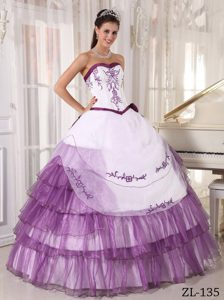 Floor-length Purple Organza Layers Embroidery Quinceanera Dresses