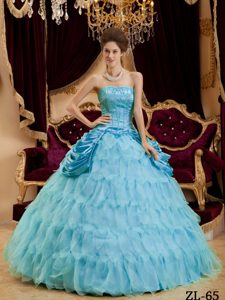 Aqua Blue Ruffle Layers Strapless Organza Ball Gown Sweet 16 Dresses