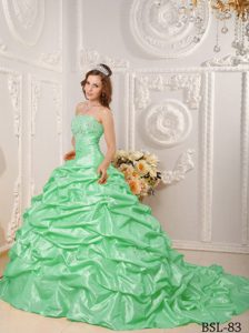 Awesome Strapless Court Train Pick-ups Sweet 15 Dresses with Beading