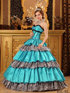2013 Fashionable Turquoise Ruffles Leopard Print Quinceneara Dresses