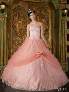 Orange Red Strapless Sweet Sixteen Dresses with Embroidery and Flower