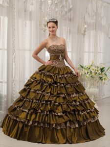 Cheap Brown Sweetheart Floor-length Dresses for Quinceanera in Leopard