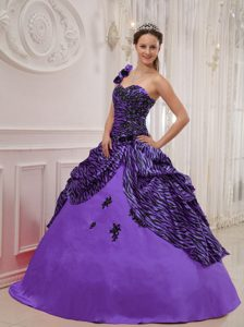 Perfect Purple One Shoulder Quinceanera Gown Dresses in Special Fabric