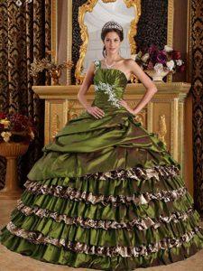 Popular Appliqued One Shoulder Dresses for Quinceanera in Olive Green