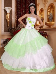 Lovely Light Green and White Strapless Dresses for Quince with Appliques