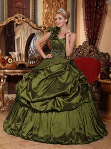 Olive Green One Shoulder Beaded Quinceanera formal Dresses in Taffeta