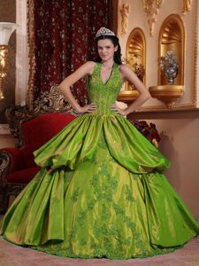 Graceful Halter Top Appliqued Yellow Green Quinceanera Dress in Taffeta