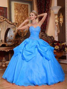 Aqua Blue Sweetheart Taffeta and Organza Sweet 16 Dress with Appliques