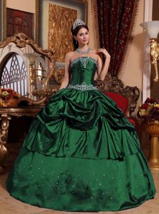 Beaded Strapless Taffeta Quinceanera Dress with Pick Ups in Dark Green