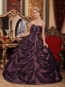 Dark Purple Strapless Beaded Dress for Quince with Pick Ups in Taffeta