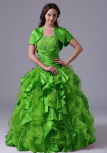 2013 Brand New Green Ruffled and Beaded Quinceanera Gowns with Ruffles
