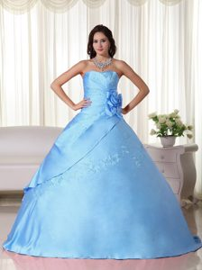 Vintage Strapless Taffeta Quinceanera Dresses with Beading in Aqua Blue