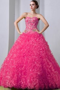 Hot Pink Sweetheart Beaded and Ruffled Quinceanea Dresses in Organza