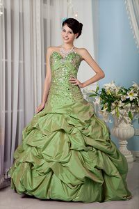 A-line Sequined Sweetheart Olive Green Quinceanera Dress with Pick Ups
